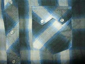 WRANGLER RUSTLER WESTERN SHIRT Snap Front Blue Silver Tinsel Thread Plaid SMALL