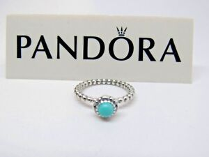 0f90995d5 New w/Box Pandora Turquoise Birthday Bloom Ring 190854TQ Sizes ...