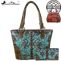 Montana West Embroidered Boot Scroll Concho Collection Gun Conceal Handbag Set