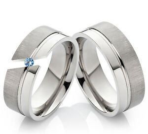 Eheringe-Verlobungsringe-Trauringe-aus-Titan-mit-Blautopas-amp-Ringe-Gravur-TD1T