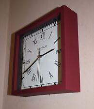Square Matt Red / Burgandy Roman Numeral Wall Desk or Mantle Clock  m 23cm