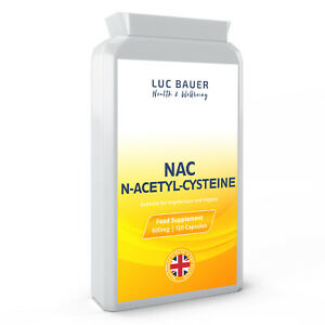 NAC N-Acetyl-Cysteine 600mg - 120 Capsules. Made in Great Britain.