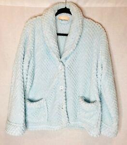 008a296c6c9 Women s La Cera Light Blue Button Up Bed Coat w Pockets L