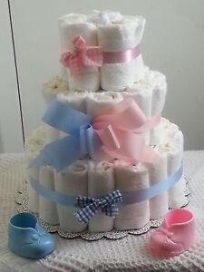3 Tier Diaper Cake Pink Blue Baby Shower Centerpiece Boy Girl Twin