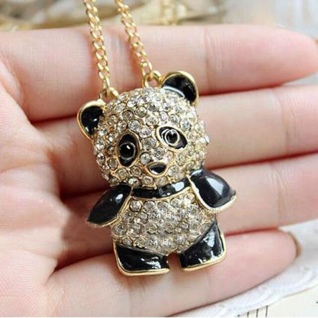 Lovely Shinning Crystal Rhinestone Panda Bear Sweater Chain Necklace Pendant