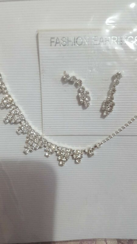 Childrens Silver Necklace And Earrings Set