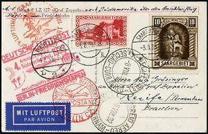 Zeppelin Territoire De La Sarre 1933 4. Amérique Du Sud Voyage Câble Vol De Correspondance Si 223 B/764-t Zuleitung Anschlussflug Si 223 B/764afficher Le Titre D'origine
