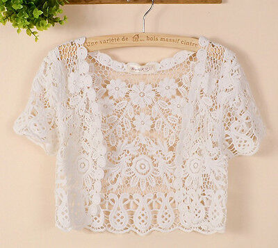Women Short Sleeve Shrug Bolero Lace Wedding Bridal Cape Jacket Elegant Cape