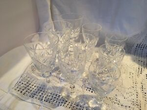 SET-OF-9-CRYSTAL-CUT-GLASSES-SHERRY-PORT-LIQUEUR-3-Different-Sizes-3-Of-Each