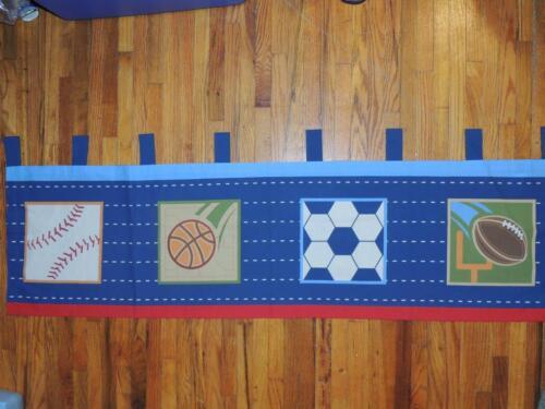 Circo SCORE Window Valance 54 x 15 SPORTS BASEBALL BASKETBALL SOCCER BLUE RED