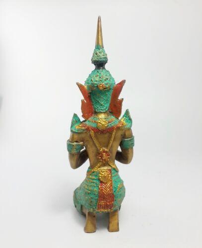 Pair of Thai Guardian Angel Theppanom Buddhist Sculpture Brass Statue Old Amulet