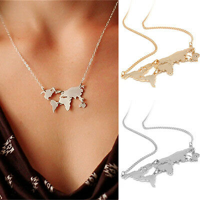 Charm Silver Gold World Map Pendant Necklace Choker Travel Abstract Jewelry Gift