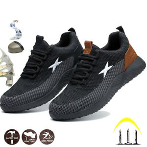 Men Safety Shoes Trainers Steel Toe Lightweight Work Boots Sports Hiking Sneaker