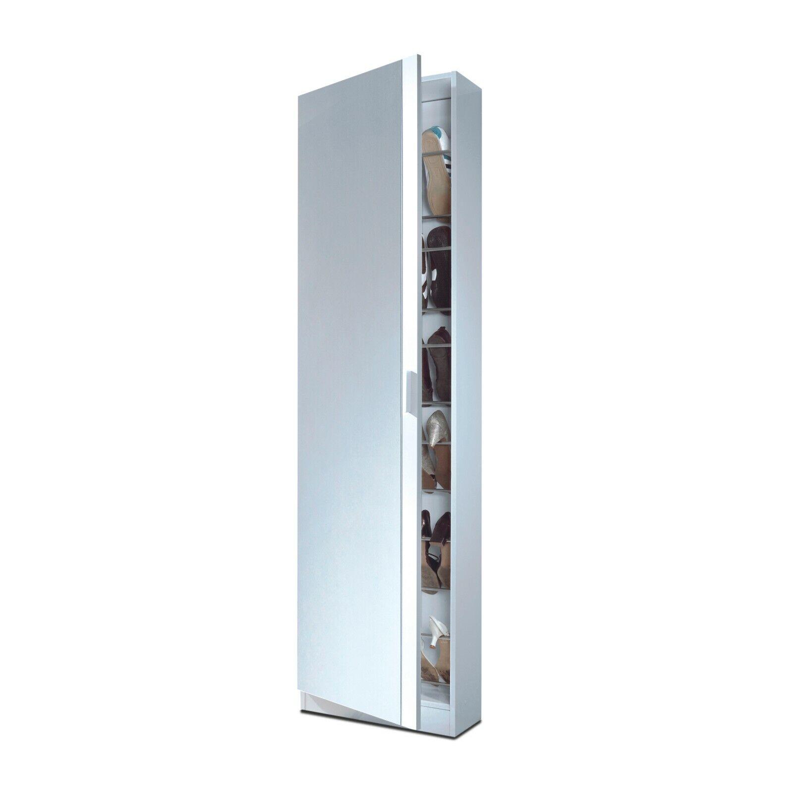 s l1600 - Mueble Zapatero puerta cristal espejo, recibidor zapatero, color Blanco Brillo