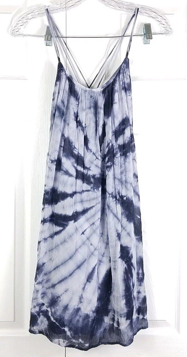 YOUNG, FABULOUS & BROKE womens size S boho bluee tie dye sleeveless tunic blouse