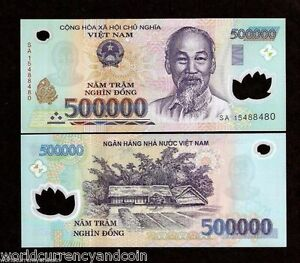 Polymer UNC 2016-2018 Vietnam 500000 500,000 Dong Banknote P-124 New