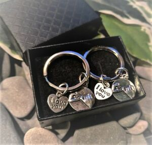 Pair-of-Silver-Pinky-Promise-amp-I-Love-You-KeyRings-Handbag-Charms
