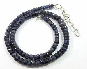173.90Ct 6-8.5mm Natural Iolite Gemstone Rondelle Faceted Beads NECKLACE S117