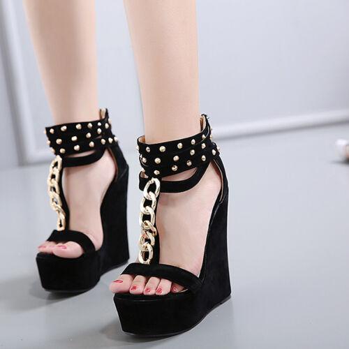 Scarpe ciabatte sabot sandali tacco zeppa 15 cm nero oro catena elegante CW876
