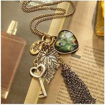 Vintage Peacock Heart Key Leaf Crown Black Chain Tassel Pendant Necklace Jewelry