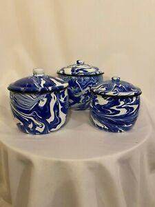 Splatter-Ware-NEW-EnamelWare-Large-fancy-Cobalt-Blue-and-White-canister-set