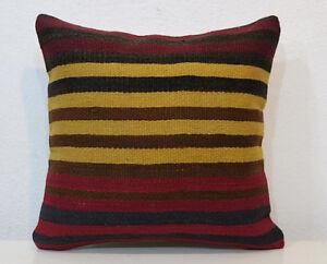 striped kilim pillow gift pillow sofa pillow handmade kilim pillow bed pillow yoga pillow 16 x 16 inch kilim pillow cover code 324