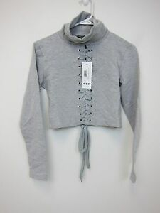 Boohoo-Ellie-High-Neck-Lace-Up-Detail-Sweat-Top-Womens-US-4-Grey-NWT