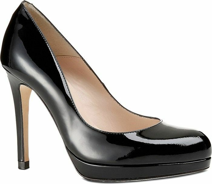 L.K. Bennett Sledge Black Patent Leather Pump shoes Heel 40.5  Platform