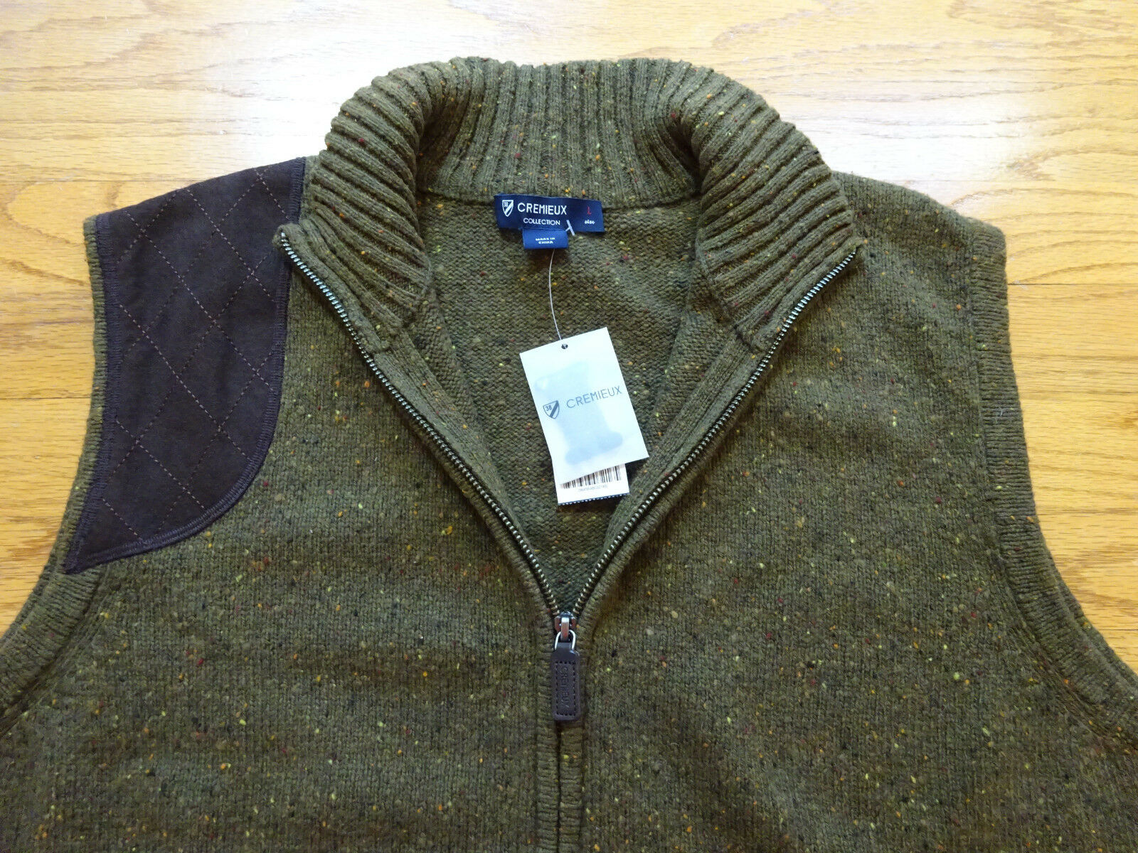 New Daniel Cremieux Wool Blend Suede Patch Full Zip Khaki Green Vest Sz L
