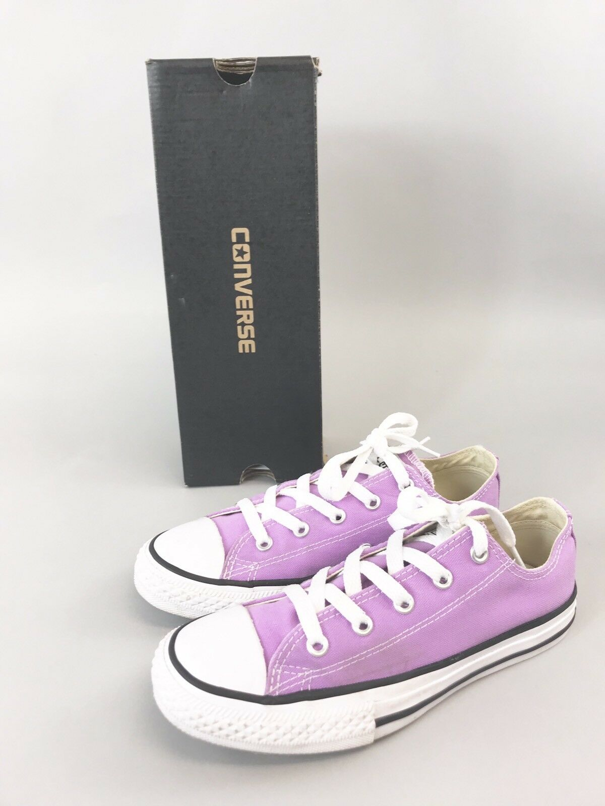 Converse All Star Ladies Low Top Lace Up Trainers Fuchsia Glow Sz UK2 Eu34 VGC
