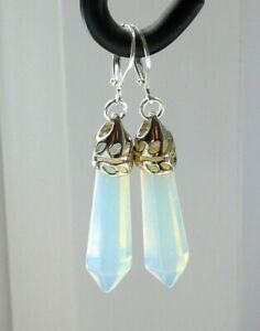 OPALITE-GEMSTONE-amp-SILVER-TONE-LEVERBACK-EARRINGS-WITH-GIFT-BAG