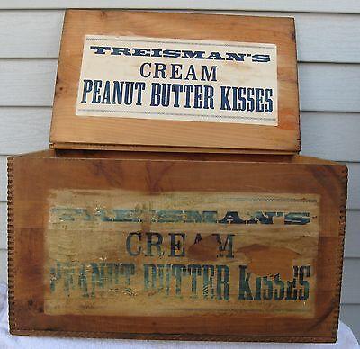 ANTIQUE DOVETAILED WOOD BOX ,LID & 2 LABELS TREISMANS CREAM PEANUT BUTTER KISSES