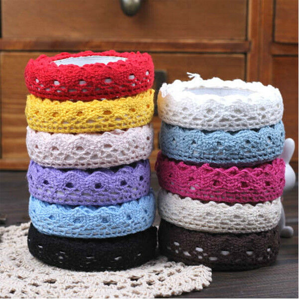 NEW Hollow Fabric Lace Washi Tape Ribbon Cotton Trim Self Adhesive Decor Sticker