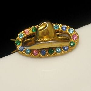 Vintage-Hair-Barrette-Mid-Century-Cowgirl-Cowboy-Hat-Colored-Rhinestones