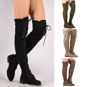 4c45f74533c Womens Winter Thigh High Boots Lace Up Over Knee Boot Zipper Stretch ...