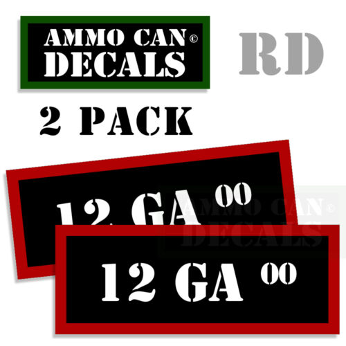 12 GA 00 Ammo Decal Sticker Set bullet ARMY Gun Can Box safety Hunting 2 pack RD