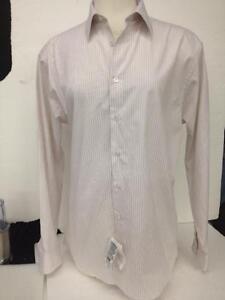 Calvin-Klein-Long-Sleeve-Dress-Shirt-Pink-White-Brown-Striped-Size-16-1-2-34-35