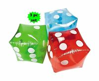Set Of 3 Giant Inflatable Dice - 16  Red Blue And Green Free Shipping