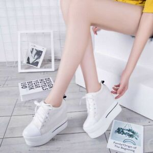 979dc1fe1a Women's Canvas Platform Shoes Sneakers Casual Hidden Wedge High Heel ...