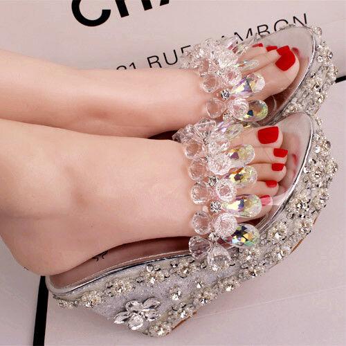 Women Boho Crystal Wedge High Heel Sandals Transparent Beads Slipper Beach shoes