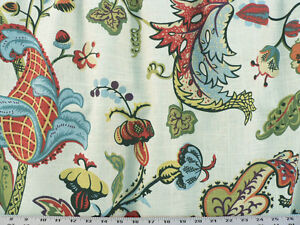 Drapery Upholstery Fabric Bright Color Fast Preshrunk Linen Floral