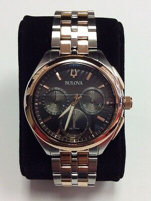 BULOVA Men's CURV Two-Tone Stainless Steel Rose Gold Chronograph WATCH 98A160