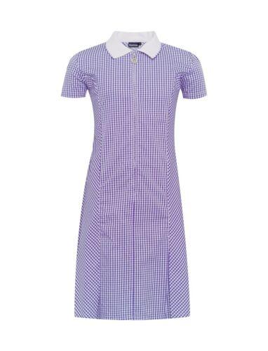 Free P/&P Avon Zip Fronted Gingham Dress Purple free hair Scrunchie 3-11 years