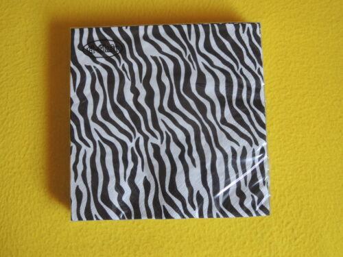 1 PACKUNG Zebra Pattern 20 SERVIETTEN afrika safari zebra skin fell schwarz weiß