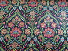 RICHLOOM JANUARY LICORICE BLACK FLORAL UPHOLSTERY FABRIC BTY $12.99/YD 313FS