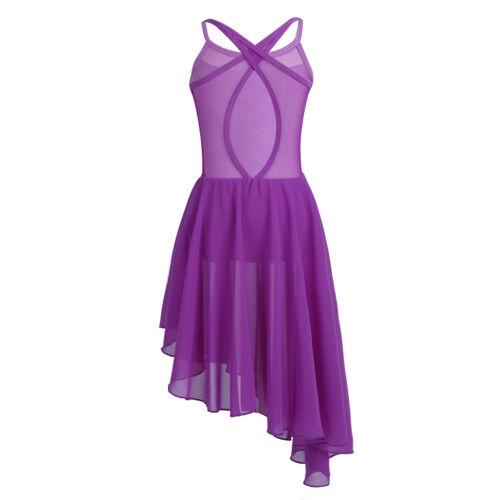US Kid Girl Lyrical Ballet Dance Dress Leotard Sequins Praise Dancewear Costumes