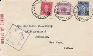 APH609-Australia-1942-small-censored-surface-mail-cover-to-USA