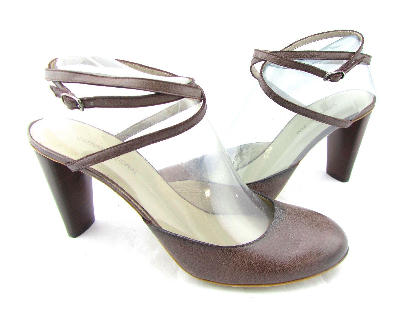 vendita economica  595 COSTUME COSTUME COSTUME NATIONAL  Marrone Leather Mary Jane Ankle Strap Pump Heels 11 41  ti aspetto
