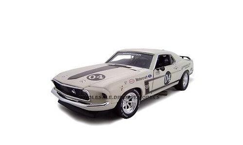 1969 Ford Mustang Boss 302 Blanc Racer  04 1 24 voiture modèle UNIQUE REPLICAS 18658