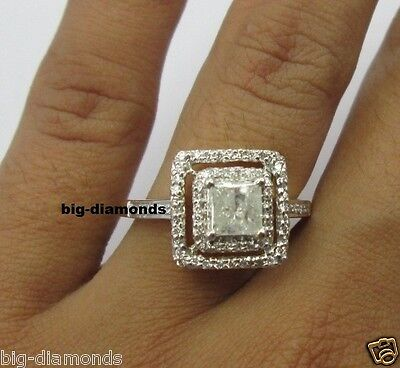 0.95Ct Big Beautiful Round & Princess Cut Diamond Engagement Ring 14K